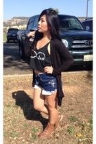 Forever 21 boots - brandy melville shirt - DIY shorts