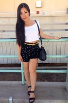 white Forever 21 shirt - black Forever 21 shorts