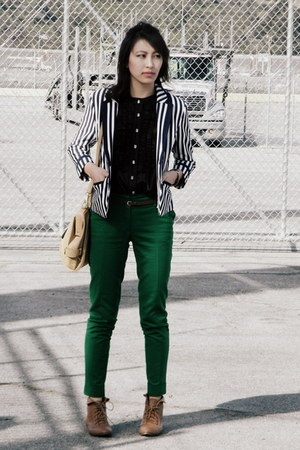 stripes blazer - brown shoes - black frill shirt - green pants