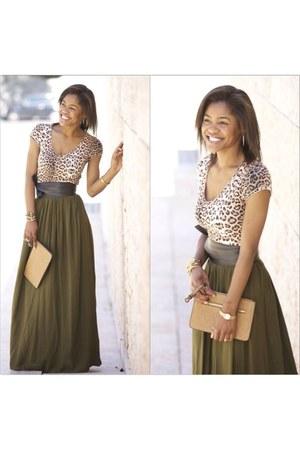 army green Stradivarius skirt