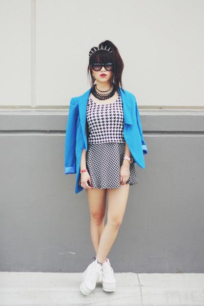 houndstooth skirt - blue blazer