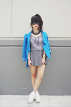 houndstooth skirt - blue blazer