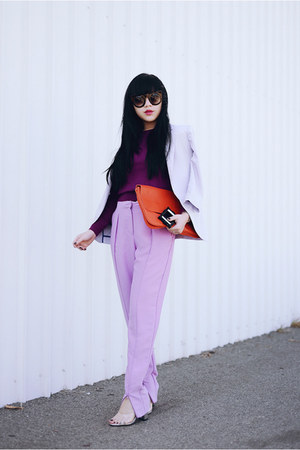 lilac zipped pants
