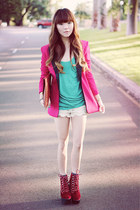 pink blazer blazer - lace shorts - Jeffrey Campbell wedges