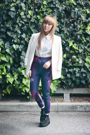 white blazer - pants