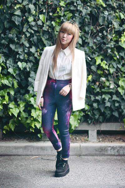 white blazer - pants