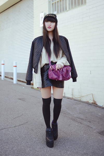 quilted bomber jacket - quilted leather skirt