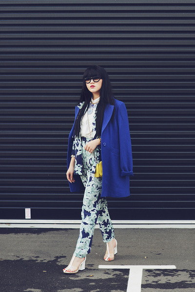 filigree print cameo blazer - wish coat - Lacambra bag - cameo pants