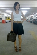 brown T shoes - Louis Vuitton purse - brown bangkok belt