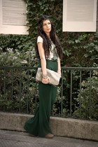 light brown Bassemente bag - beige vintage t-shirt - forest green Zara pants