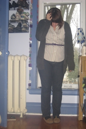 ROOTS sweater - joe fresh style belt - LL Bean shirt - joe fresh style jeans - s