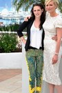 White-dress-black-blazer-black-glasses-yellow-pants-white-blouse