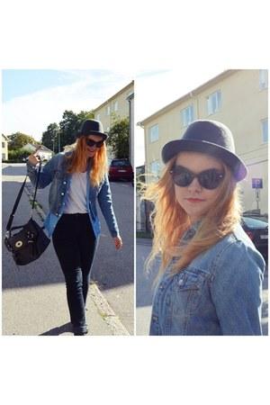 denim jacket vintage jacket - H&M hat - alexa copy hlns bag