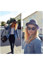 denim jacket vintage jacket - H&M hat - alexa copy hlns bag