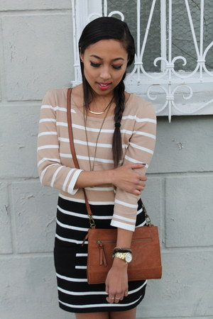tan striped Ross dress - gold Ross scarf - brown crossbody Ross bag
