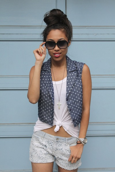 lucca couture vest - Aeropostale shorts - H&M sneakers - Nordstrom top