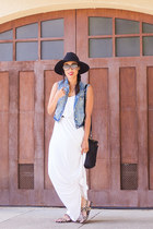 denim Aeropostale vest - maxi dress ann taylor dress - crossbody kate spade bag