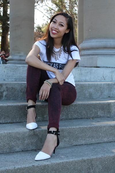 white brandy melville shirt - white Zara heels