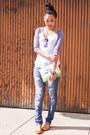 Blue-distressed-indigo-rein-jeans-off-white-clutch-kate-spade-bag