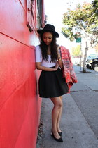 black H&M hat - red H&M jacket - white American Apparel bodysuit