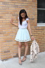 Sky-blue-lucca-couture-skirt-tan-bcbgeneration-jacket-silver-zara-heels