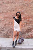 black LuLus boots - black LuLus top - white crochet LuLus jumper