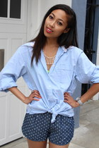 blue lucca couture shorts - beige soludos shoes - blue Gap blouse