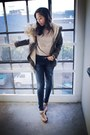 Blue-zara-jeans-army-green-macys-jacket-neutral-cotton-on-top