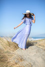 Periwinkle-thrifted-vintage-dress-off-white-floppy-hat-cake-plate-hat