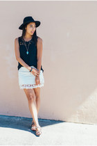 black wool H&M hat - white crochet Zara skirt - black crochet letote top