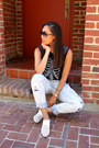 White-mules-shoedazzle-shoes-blue-distressed-aeropostale-jeans