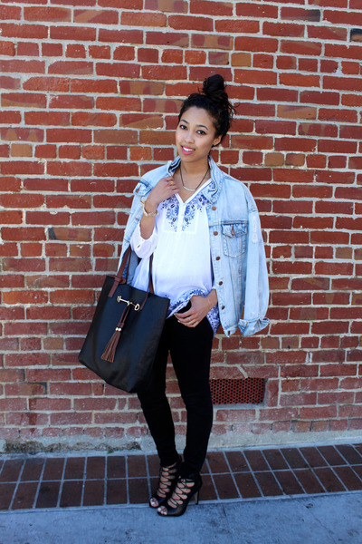white tunic JJill top - light blue jean Lulus jacket - black lace-up Zara heels