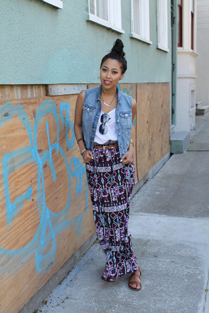 blue denim Aeropostale vest - purple maxi Forever 21 skirt