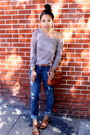Blue-distressed-aeropostale-jeans-light-brown-knit-addison-ny-sweater