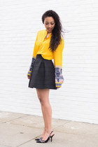 yellow silk Jcrew top - black tulip Nordstrom skirt