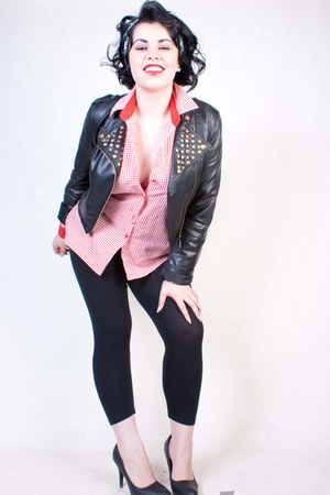black vintage studded Black days jacket - black seamless leggings