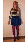 Maroon-forever-21-tights-blue-forever-21-skirt-top