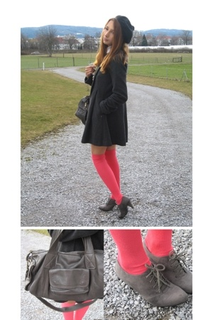 pink H&M socks - gray Zara shoes - silver dpp coat - gray H&M bag