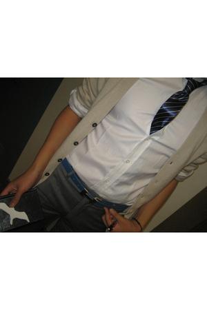 Dolce and Gabbana sweater - no brand tie - Bespoke shirt - Prada pants