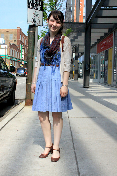 light blue dress - crimson scarf - eggshell cardigan - dark brown heels