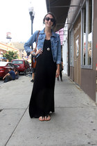 sky blue denim jacket - black maxi dress dress - tawny vintage leather bag