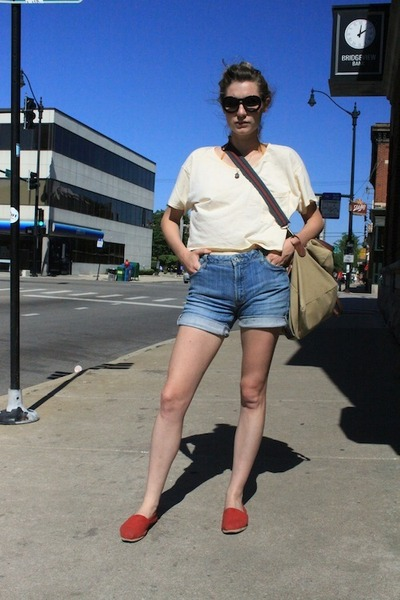 ruby red TOMS shoes - blue shorts jeans - camel bag - black Chanel sunglasses -