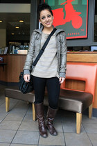 riding boots boots - leather jacket jacket - leggings - messenger bang bag - kni