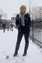dark brown under the knee boots - navy dark jean jeans - mustard cable knit hat