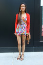 Tawny-purse-red-cardigan-red-romper-tawny-sandals