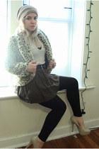 leopard fur by corpus jacket - black H&M leggings - army green Forever 21 skirt