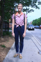 navy jeans - bubble gum tied-up shirt blouse - camel moccasins flats