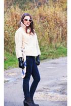 black Belmondo boots - beige fur vest vintage coat - navy navy Bershka jeans