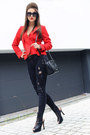 Red-denny-rose-jacket-black-zara-pants