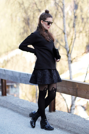 black Zara blazer - black Calzedonia tights - black calvin klein bag